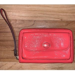 COACH coral leather zip wallet
